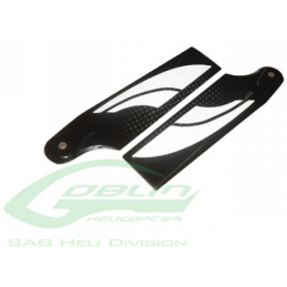 PALES ANTI-COUPLE SAB 95mm Carbon Fiber Tail Blades (Black/White) - Goblin 570