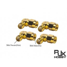 RJX735 - FPV L Connector Adapter SMA /Female to SMA/Male x 4 PCS