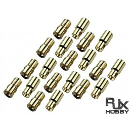 RJX1028 - PK 6 - Male And Female, 6.0mm Gold Plated Banana (bullet) 10 SETS