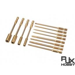 RJX1955 - EMBOUT TOURNEVIS 12 pcs 6.35mm Hex /Nut/ Phillips/ Flat