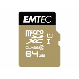 MICROSDXC 64GO EMTEC + ADAPTATEUR CL10 GOLD+ UHS-I 85MB/S BLISTER - 13406