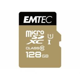 MICROSDXC 128GO EMTEC +ADAPTATEUR CL10 GOLD+ UHS-I 85MB/S - SOUS BLISTER - 13742